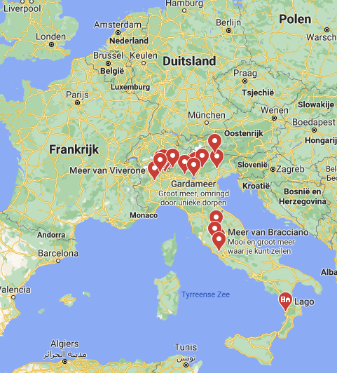 Meren Italië kaart | Italië kaart