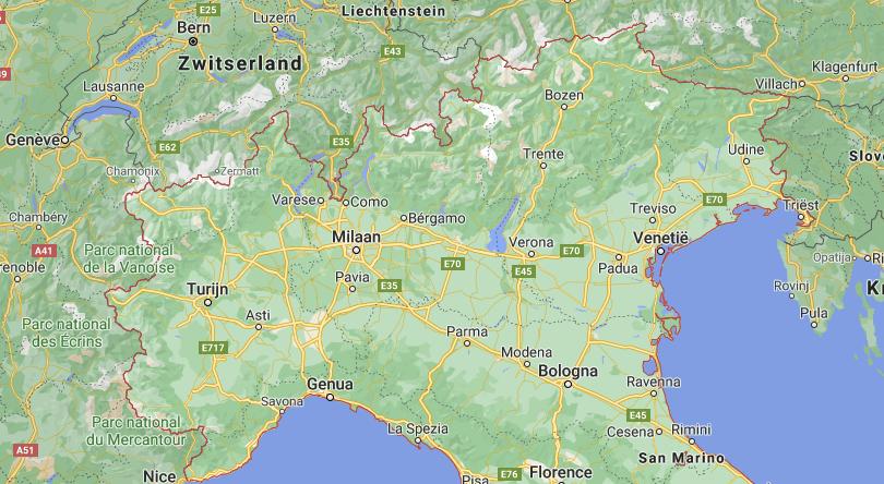 Noord Italië kaart   Italië kaart