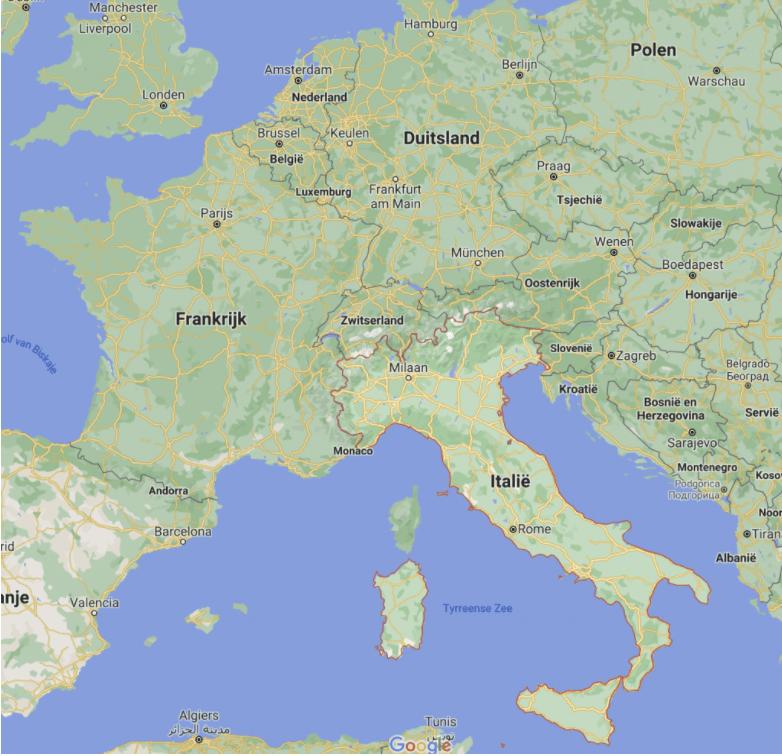 Steden Italië kaart