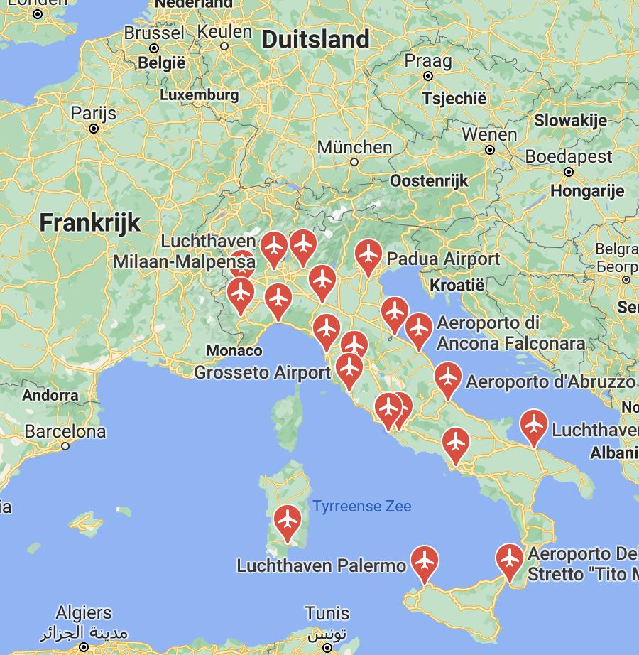 Vliegvelden Italië kaart | Italië kaart