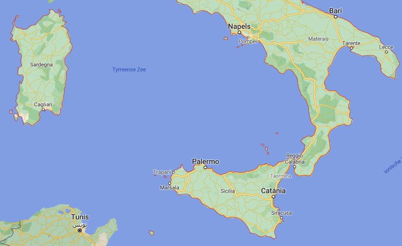 Zuid Italië kaart | Italië kaart